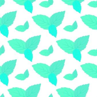 新鮮なミントのシームレスなパターンの葉。花の背景。