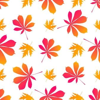 단풍나무와 밤나무 잎. 가 완벽 한 패턴입니다.