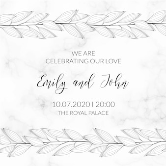 Leaves ornament marble textured invitation template