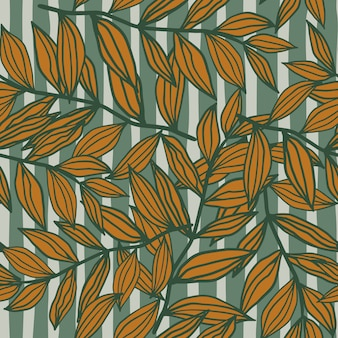 Leaves outline shapes autumn random seamless pattern. blue stripped background with orange foliage elements.