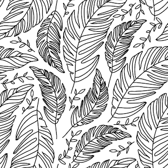 Leaves palm seamless pattern in doodle style