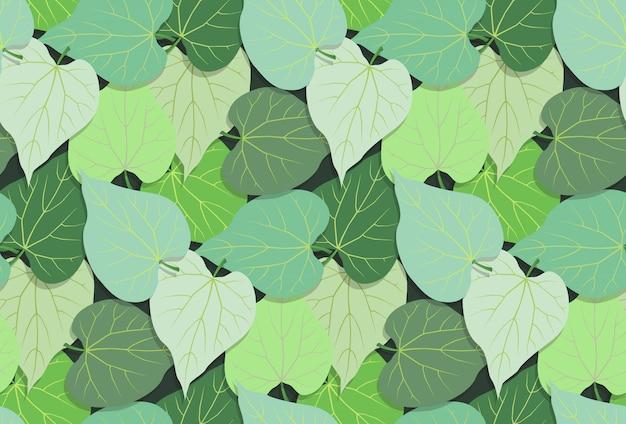Leaves pattern seamless on green dark background