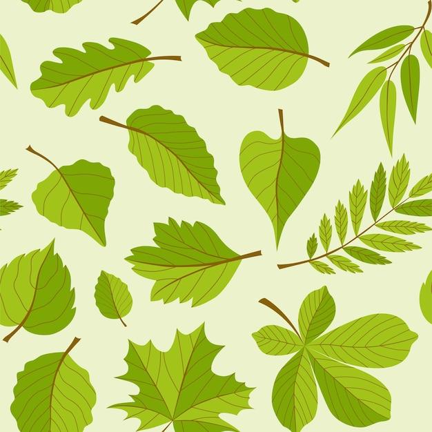 Листья шаблон - бесшовные современный дизайн материала фон. разные деревья: дуб, рябина, клен, каштан, береза. концепция гербария. шаблон для оберточной бумаги, ткани, обложки, текстиля, визиток Premium векторы