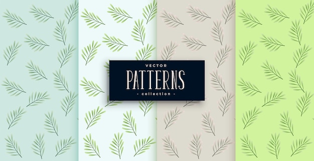 Leaves pattern set in four colors