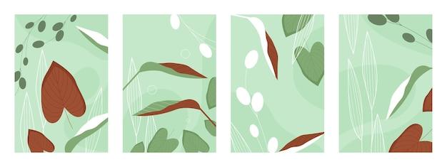 나뭇잎 패턴 벡터 일러스트 레이 션 세트. 추상 손으로 그린 녹색 갈색 자연 잎 식물, 정원 또는 초원 숲에서 잔디 허브