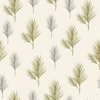 Leaves pine background seamless pattern