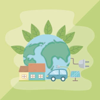 Leaves planet and save energy design