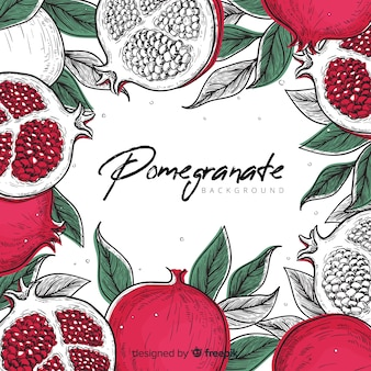 Leaves and pomegranate background