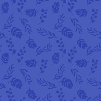 青い背景にシームレスなパターンを残します熱帯の葉と無限の自然の背景