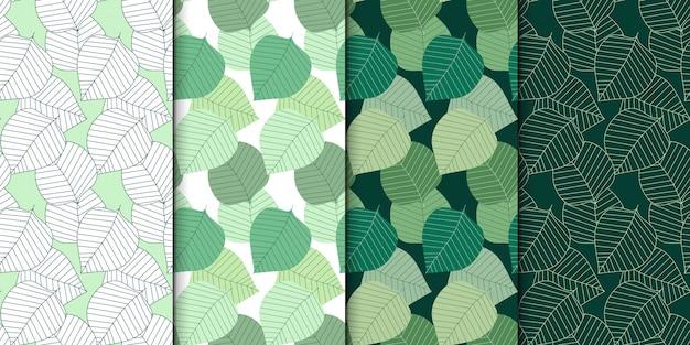 Leaves seamless pattern set.