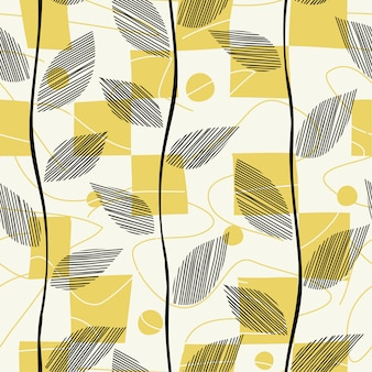 Leaves seamless pattern spread with squares.