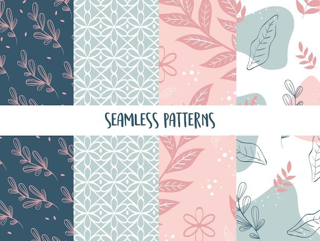 잎 원활한 패턴 세트