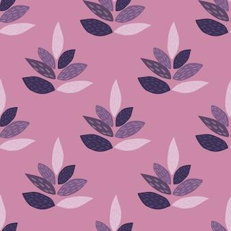 葉のシームレスな花柄のシルエット。植物の要素と紫と薄紫色の色の背景。テキスタイル、ファブリック、包装紙、壁紙のed。図。