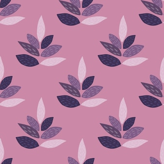 Leaves silhouette seamless floral pattern. botanic elements and background in purple and lilac colors. ed for textile, fabric, wrapping paper, wallpaper.  illustration.