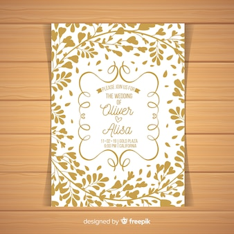 Leaves silhouette wedding invitation template