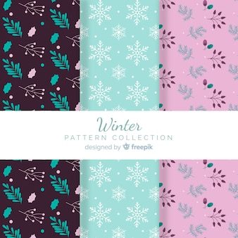 Leaves and snowflakes winter pattern collection
