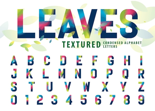Leaves texture alphabet letters and numbers, modern palm leaf letter