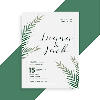 Leaves theme wedding card invitation template design