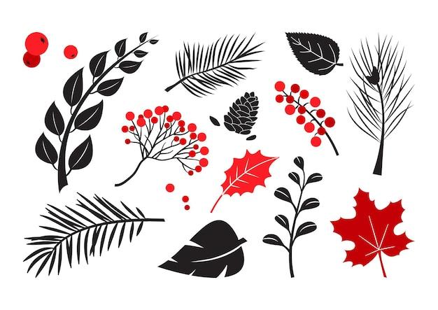 나뭇잎 나무, 가지, 베리 벡터 세트, 가을과 겨울 식물, 흰색 배경에 고립 된 검은 색과 빨간색 실루엣. 자연 그림