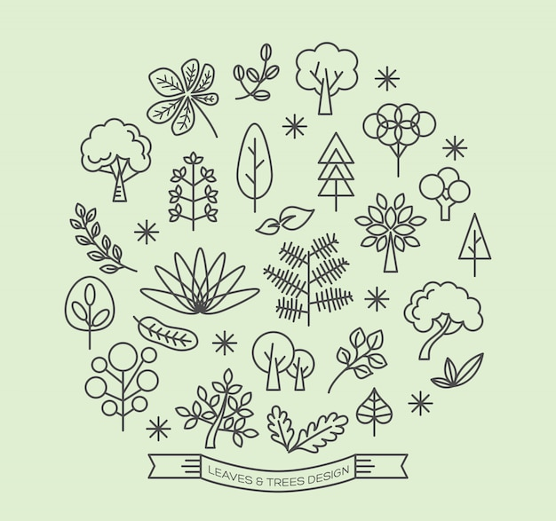 Leaves and trees icons outline style vector