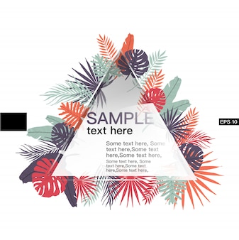 Leaves tropical banner template with triangle shape