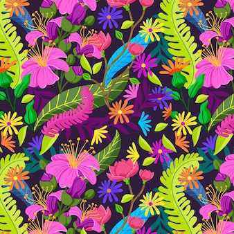 Leaves and tropical flowers pattern