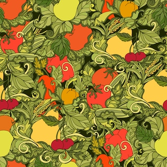 Leaves vegetables and fruits seamless pattern