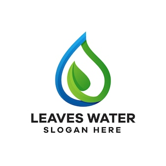 Leaves water gradient logo design