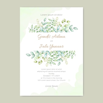 Leaves watercolor wedding invitation