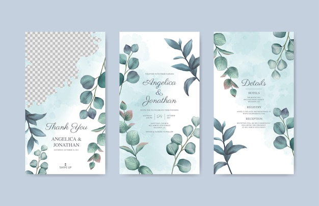 잎 결혼식 instagram 이야기 템플릿