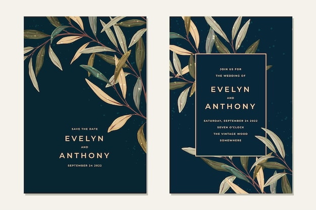 Leaves wedding invitation in vintage style. rustic greenery background.