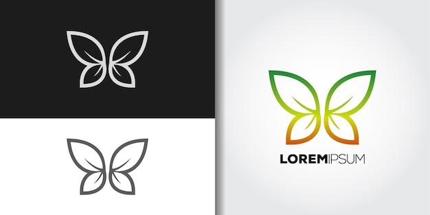 Leaves wings logo set