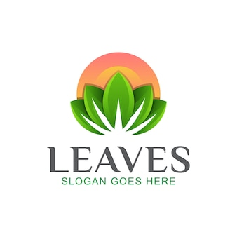 Leaves with sun logo, nature beauty, spa and lotus design