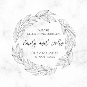 Leaves wreath marble textured invitation template