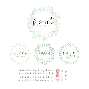 Leaves wreath with alphabet collection
