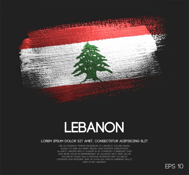Lebanon flag made of glitter sparkle brush paint