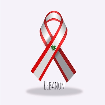 Lebanon flag ribbon design