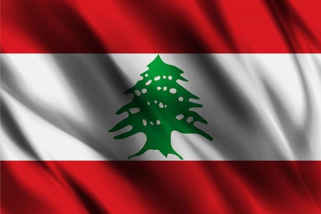 レバノンの旗を振って抽象的な背景