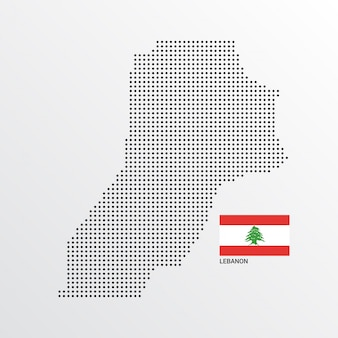 Lebanon map design with flag and light background vector