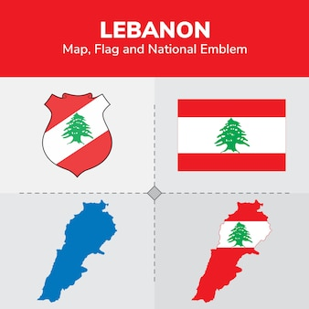 Lebanon map, flag and national emblem