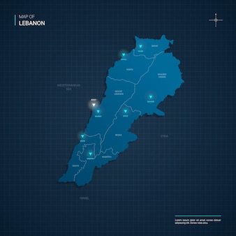 Lebanon map with blue neon light points