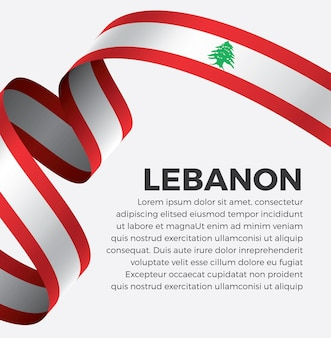 흰색 바탕에 레바논 리본 플래그 벡터 일러스트 레이 션 premium 벡터