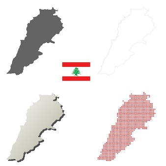 Lebanon vector outline map set