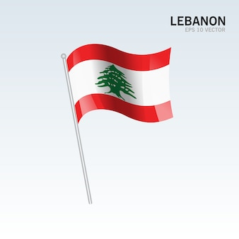 Lebanon waving flag isolated on gray background