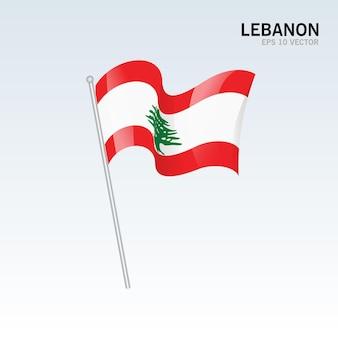 Lebanon waving flag isolated on gray