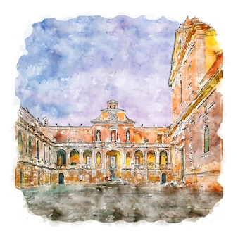 Lecce 이탈리아 수채화 스케치 손으로 그린 그림