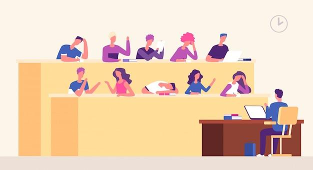 Лекционный зал. студенты лектора в аудитории учатся молодым людям, обучающимся в зрительном зале. бизнес-коучинг