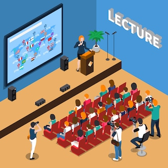 Lecture isometric illustration Free Vector
