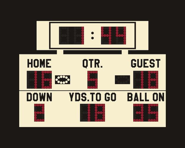 Led american football scoreboard illustration