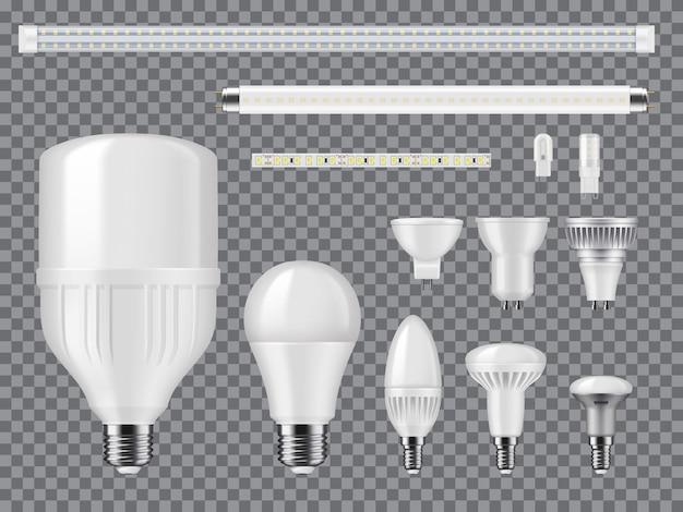 Макет светодиодных и галогенных ламп, линейных ламп и лент. реалистичные векторные современные лампочки с диодами, винтовыми и штыревыми цоколями, радиаторами и матовым стеклом. высокоэффективная экологичная технология освещения